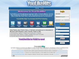 YouLikeHits.com Obtén Likes, visitas y tráfico grátis
